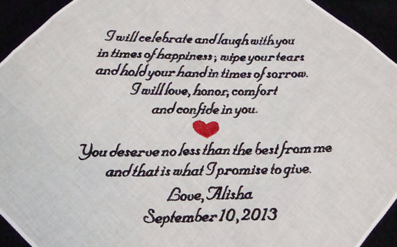 Personalized wedding vows handkerchief