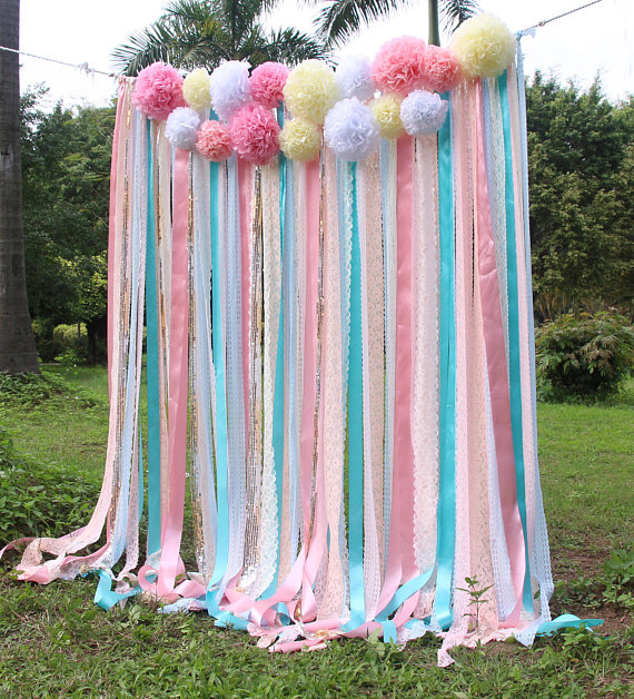 Pink white Lace mint ribbon Pom Poms flowers Sparkle fabric backdrop