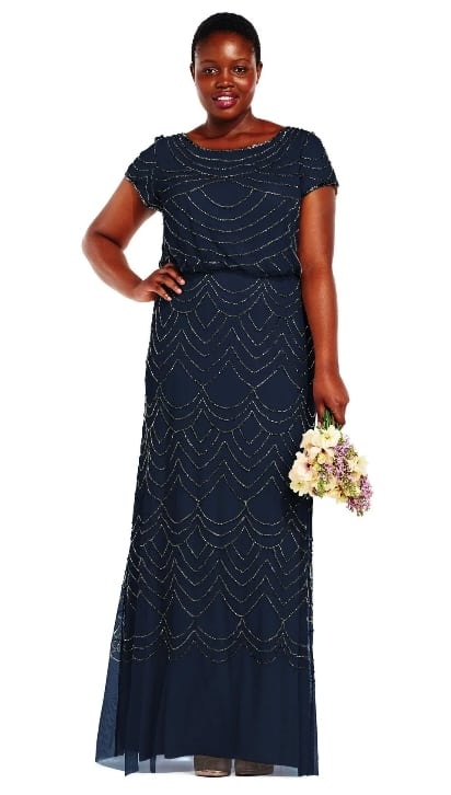 Plus size beaded navy blue bridemaids dress