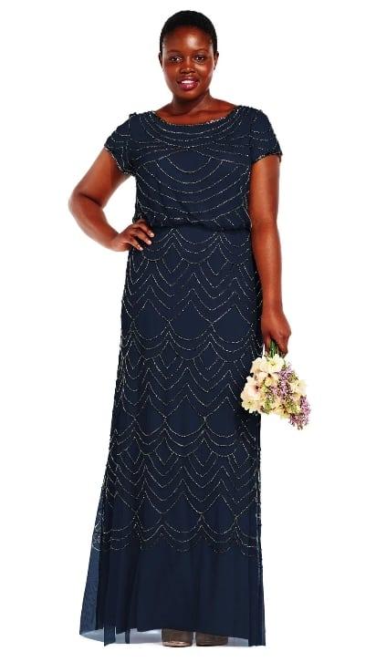 9597851675 Plus size beaded navy blue bridemaids dress