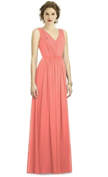 Plus size coral colored bridemaid dress by dessy