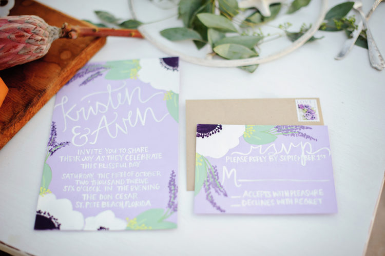 lavender themed wedding stationery example
