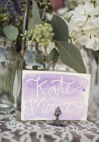simple lavender color watercolor wash place card