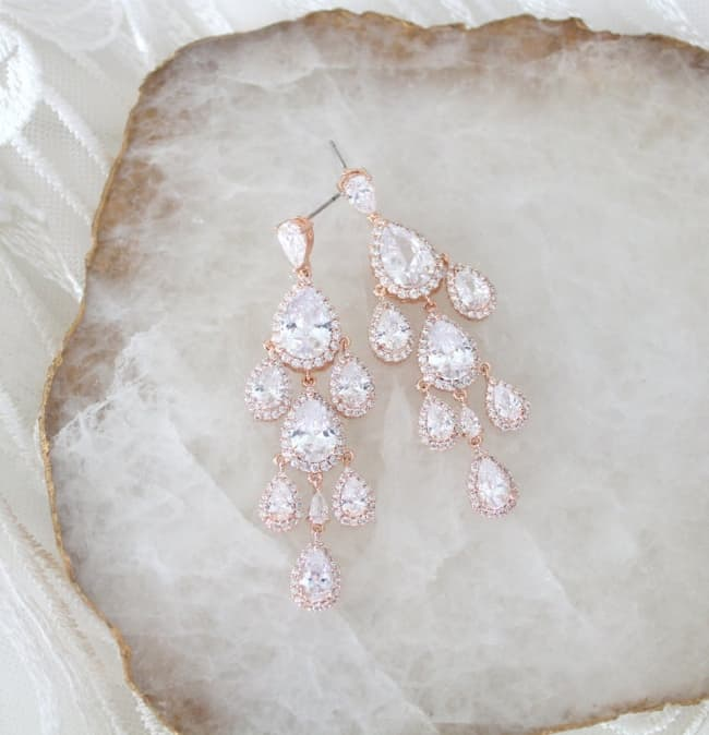 Rose Gold Art Deco Chandelier Earrings for wedding