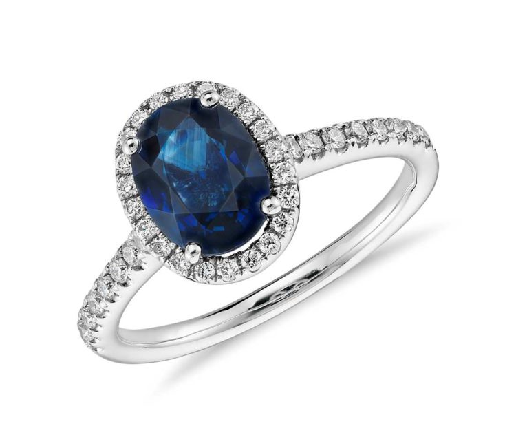 Sapphire and Micropavé Diamond Halo Ring