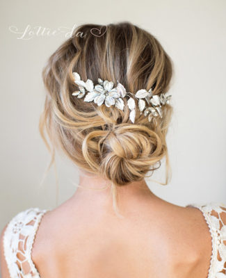 Silver Hair Halo Hair Vine, Grecian Hair Wreath