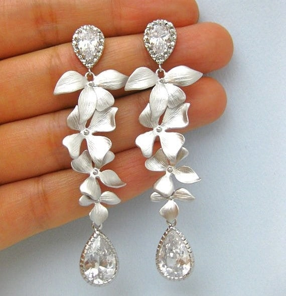 Silver Orchid Chandelier Earrings for bride