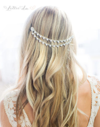 Silver Pearl Bridal Hair Chain