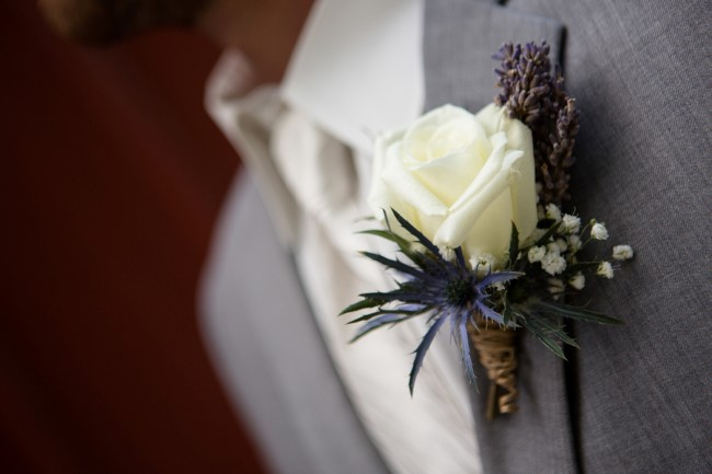 dried lavender and white rose boutonniere