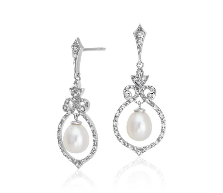 Vintage-Inspired Freshwater Cultured Pearl and White Topaz Chandelier Earrings in Sterling Silver by Blue Nile