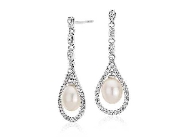 Vintage-Inspired Freshwater Cultured Pearl and White Topaz Drop Earrings