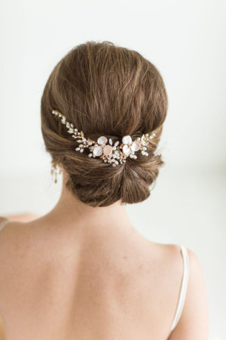 wedding hair vine with pink flowers
