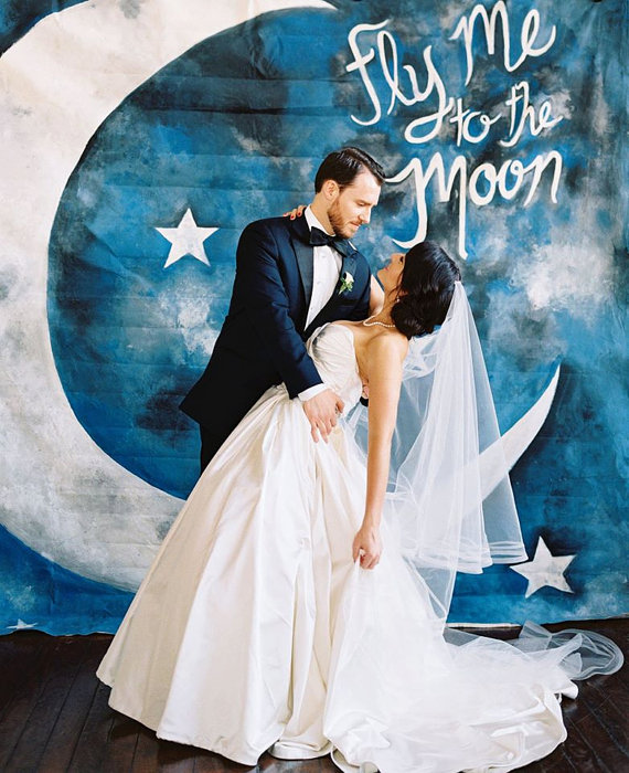 Wedding Backdrop or Photobooth Backdrop – Fly Me to the Moon