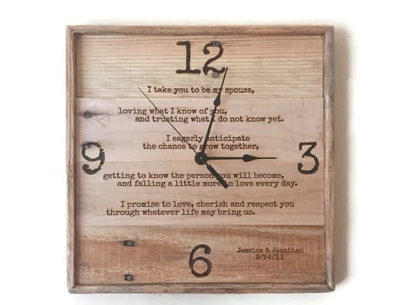 Wedding Vows Framed rustic wall clock