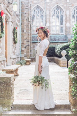 asian bride wears hollyberry floral crown