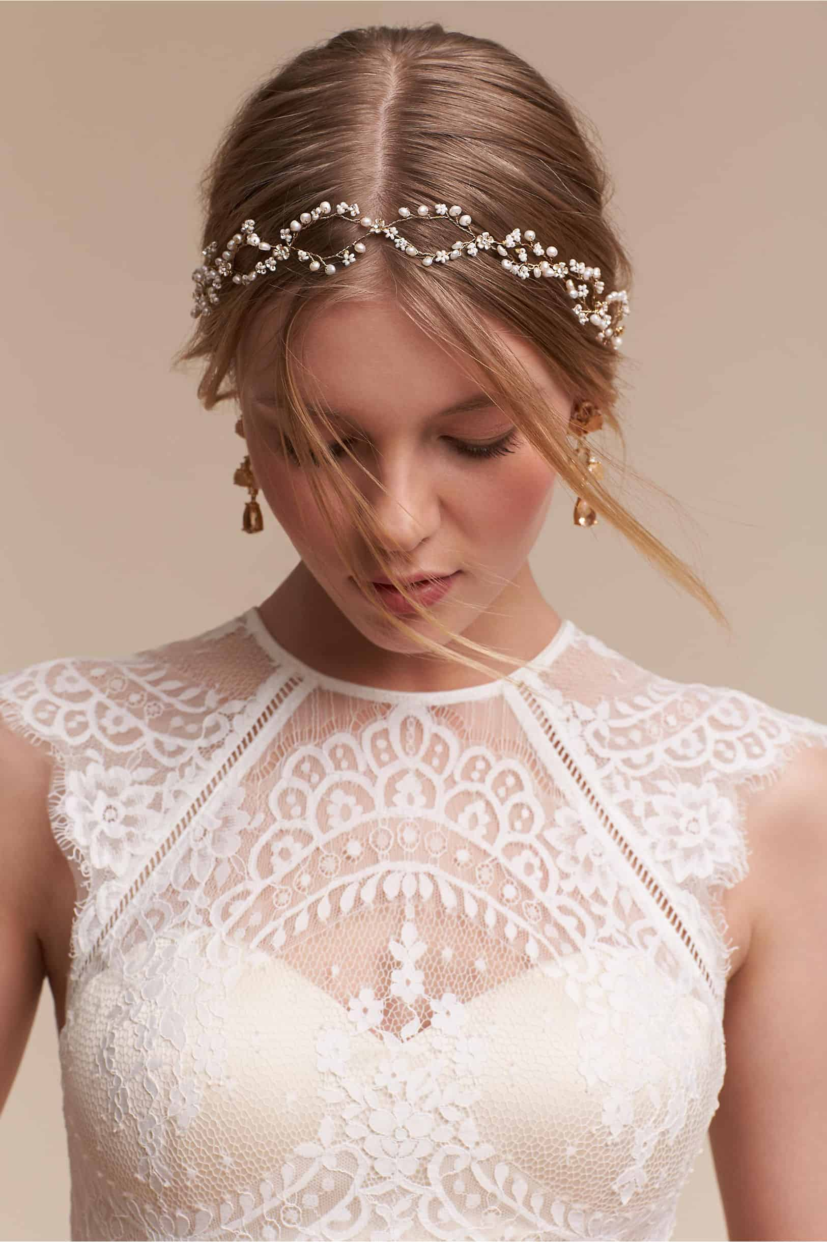 bridal Pearldrop Halo by BHLDN