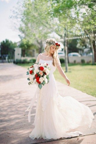 bride with red floral crown