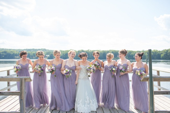 bridesmaids in dusty lavender dresses