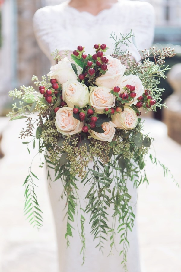 cascading holly berry bridal bouquet