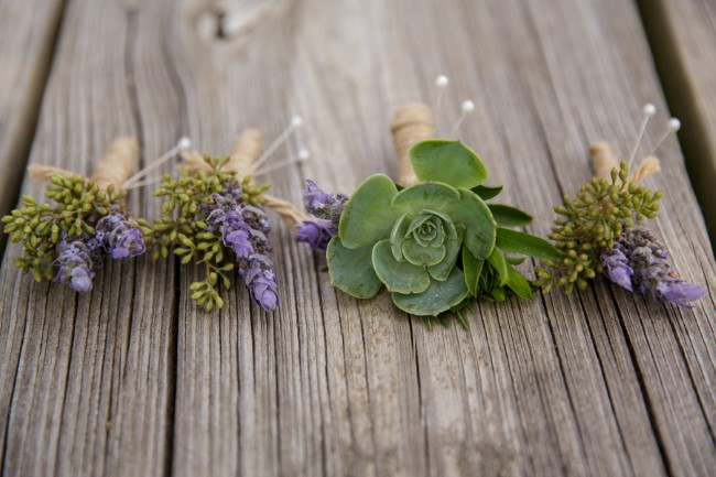 4 fresh lavender boutonnieres wrapped with twine