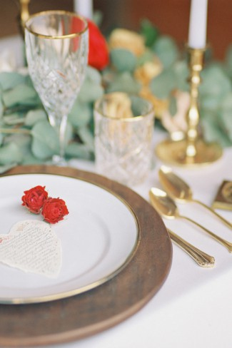 gold cutlery and plate