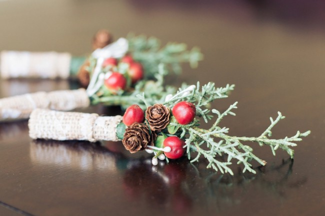 holly berry twine boutonnieres