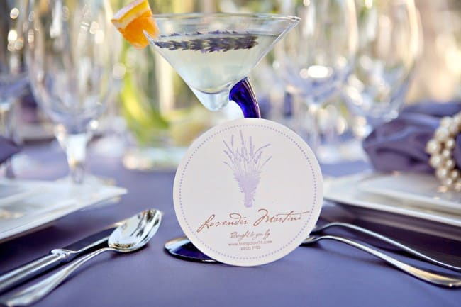printed lavender coaster beside lavender martini