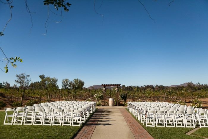 outdoor ceremony seating at Lorimar Winery wedding