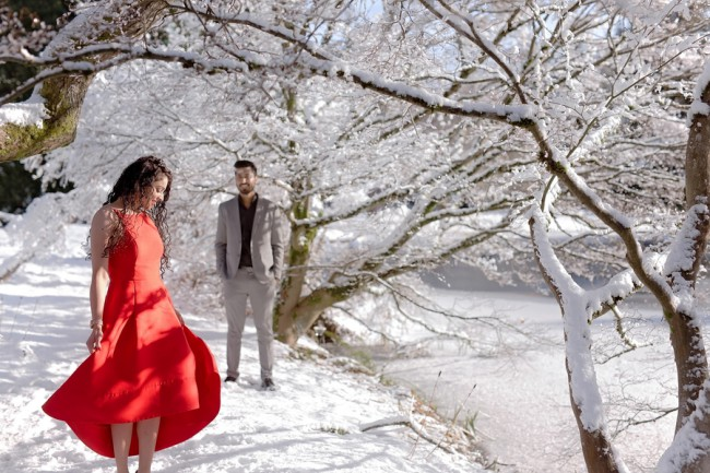 red dress engagement in winter at Van Dusen