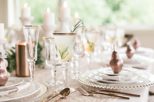 rosemary infused cocktail on tablescape