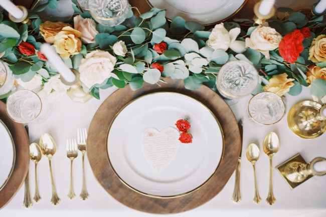 styled gold table setting