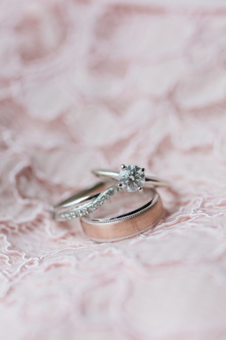 wedding band on blush pink lace