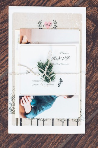wedding stationery wrapped in twine