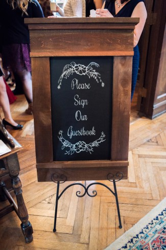 wood frame chalkboard guestbook sign