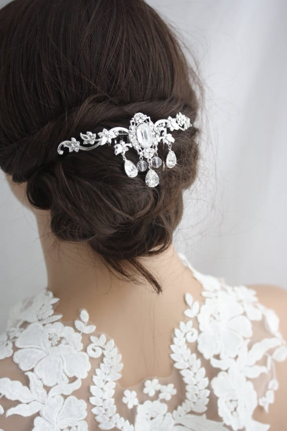 Bridal Headpiece Hair Vine Leaf Back Wedding Hair Comb Swarovski Crystal Flapper Hair Clip Veil comb ROCHELLE