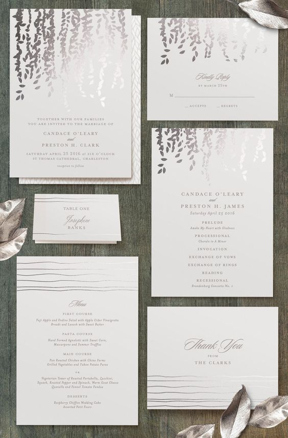 Cascade- Customizable Foil-pressed Wedding Invitations in Gray or Silver by Minted