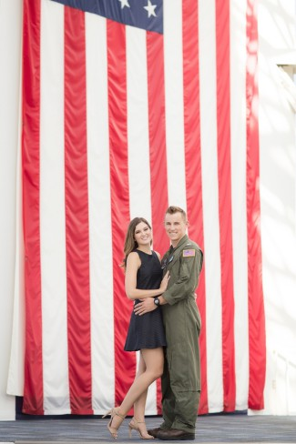 Couple with giant USA flag