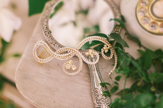 Crystal loops and Flowers Bridal Hair Comb