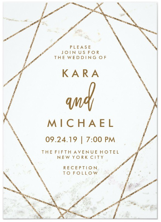 Faux Marble and Copper Geometric Wedding Invite by invitations by dawn