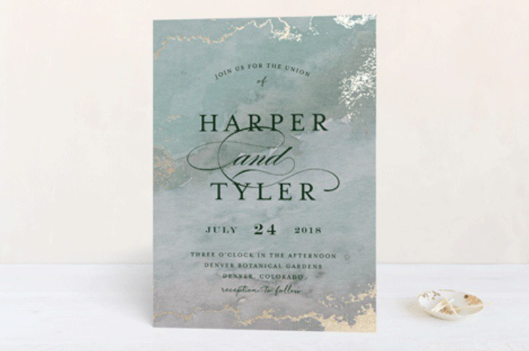 Gilded Shore wedding invitation