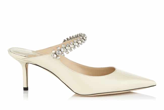Bing 65 - Linen Patent Leather Mules with Crystal Strap