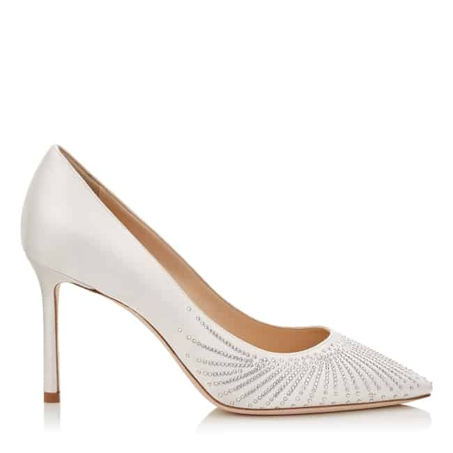 6816636e0d17 Ivory Satin Pointy Toe Pumps with Shooting Crystals