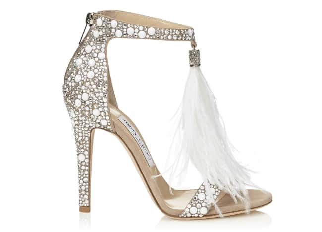 c469fc11a9b White Suede and Hot Fix Crystal Embellished Sandals with an Ostrich Feather  Tassel. If Jimmy Choo is not the bridal shoe designer for ...