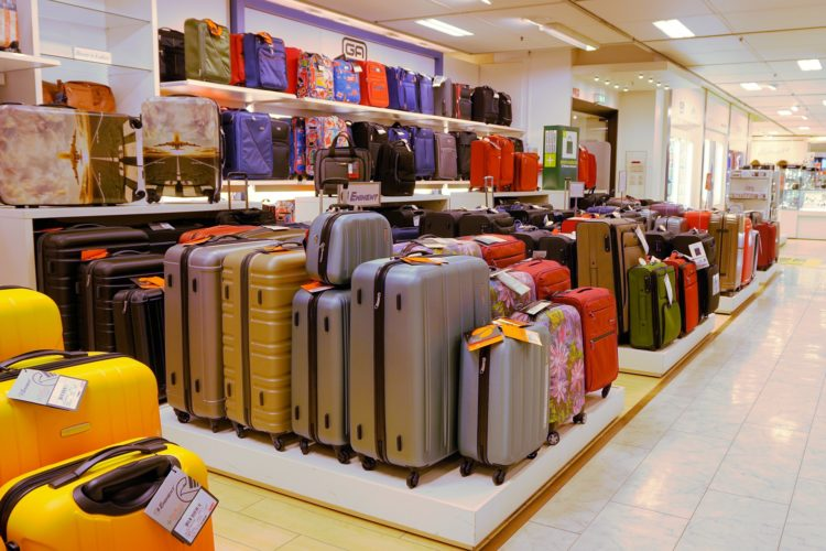 luggage display at a department store