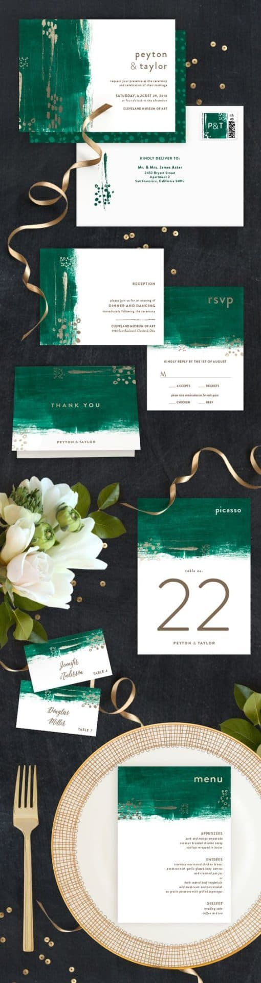 Painted Canvas – Customizable Foil-pressed Wedding Invitation by Minted