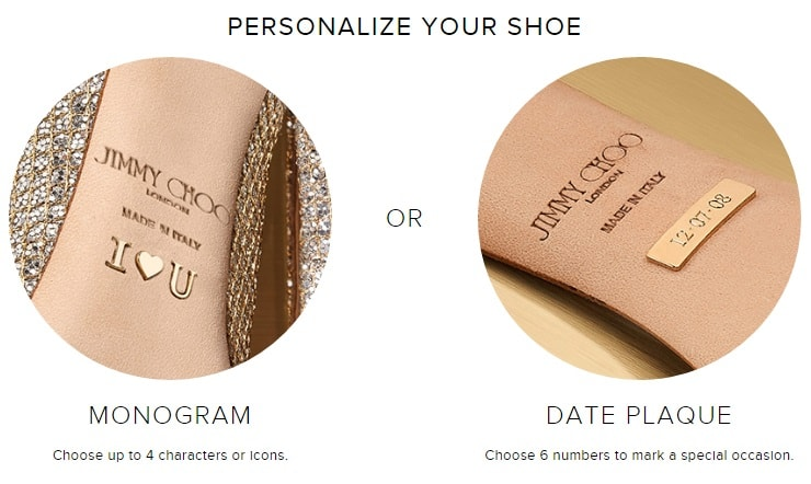 Personalize you custom bridal jimmy choo shoes