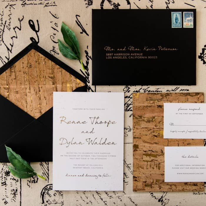 Renae gold foil cork themed wedding invitations