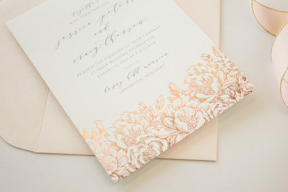 rose gold foil stamped wedding invitations - Wedding Invitations Gold