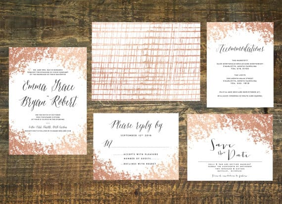 rose gold foil wedding invitation suite - Rose Gold Wedding Invitations