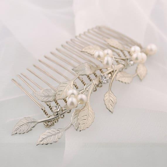Silver leaf wedding comb – leafy pearl bridal comb